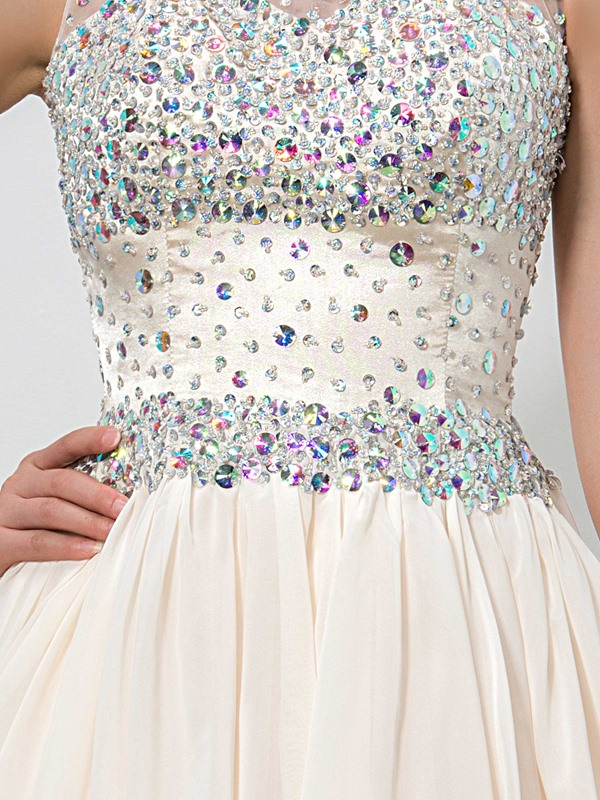 Scoop Neck Beading Crystal Homecoming Dress