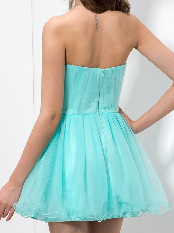 A-Line Sweetheart Beaded Empire Waist Short Homecoming Dress