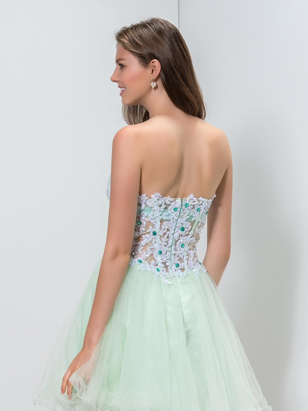 Sweetheart Appliques Beaded A-Line Homecoming Dress