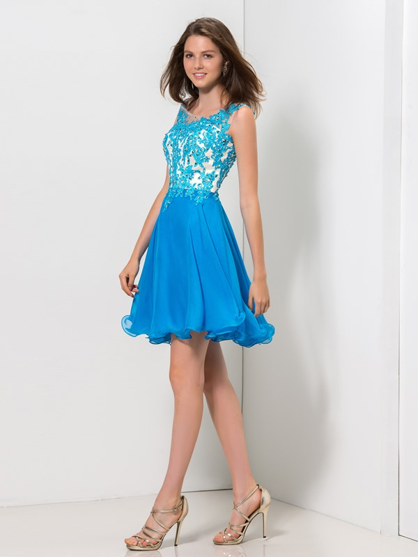 Scoop Straps Appliques Sequined A-Line Homecoming Dress