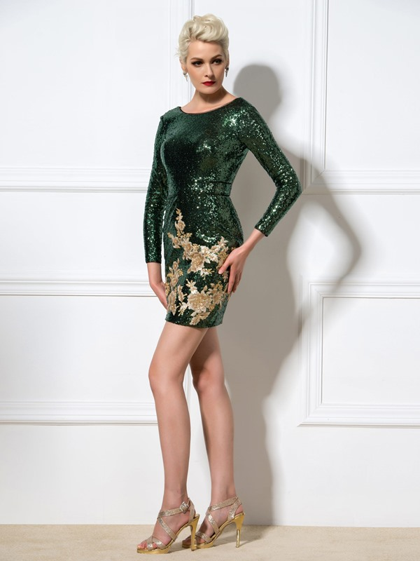 Shining Scoop Neck Appliques Sheath Short Sequined Cocktail Dress