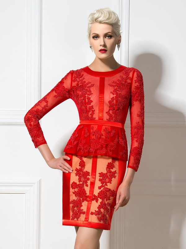 Amazing Round Neck Long Sleeves Short Appliques Formal/Cocktail Dress