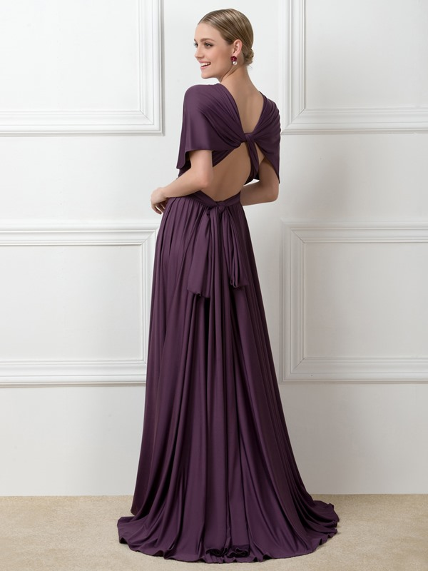Floor Length A-Line Ruched Milk Silk Convertible Bridesmaid Dress