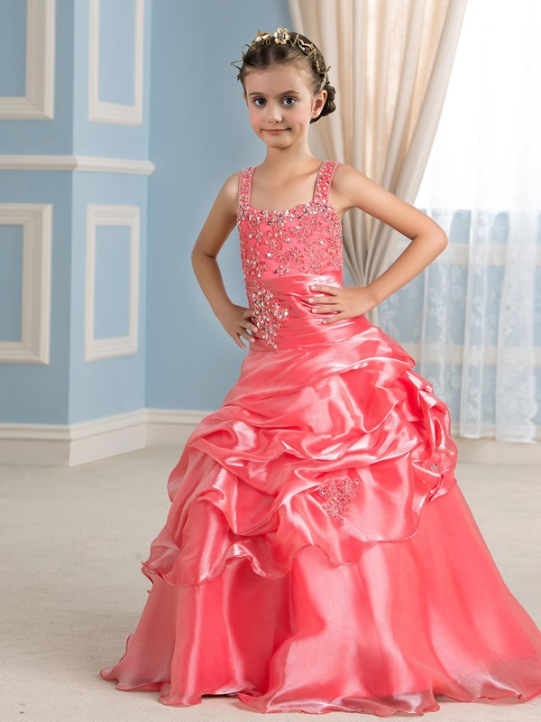 Pretty Spaghetti Straps Tiered Pick-ups Watermelon Red Flower Girl Dress