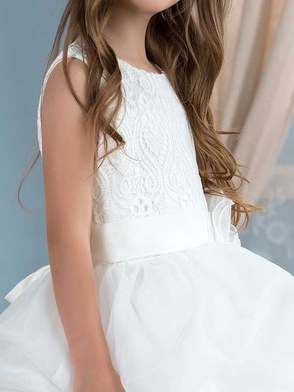Adorable Lace Top Ruffles Ivory Flower Girl Dress