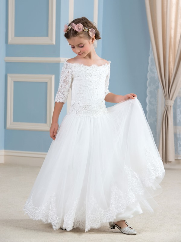 Half Sleeve Appliques Sequins Flower Girl Dress