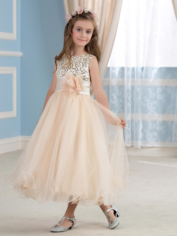 Elegant Sequined Bodice Floral Champagne Flower Girl Dress