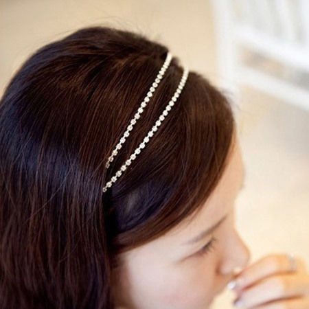 Double-deck Rhinestone Decorated Hair Band