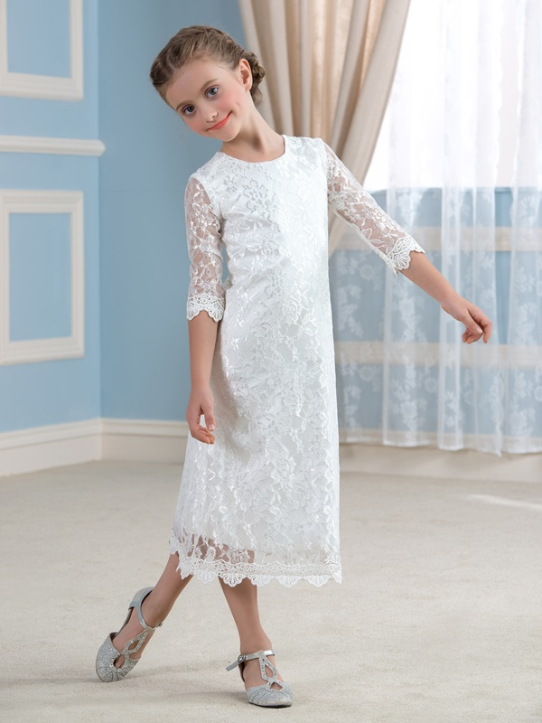 Cheap Ivory Long Sleeve Lace Flower Girl Dress(Free Shipping)