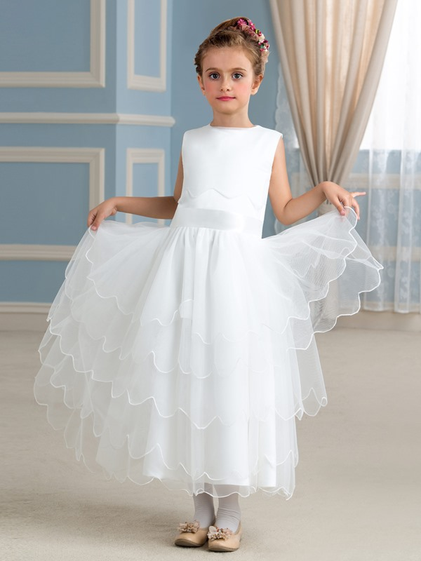 Lovely Tiered Ivory Tulle Princess Flower Girl Dress