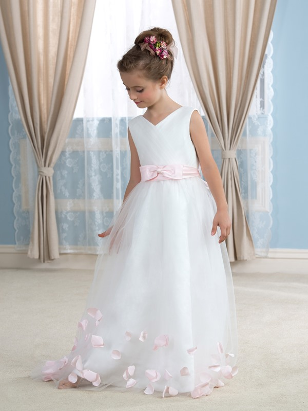Bowknot Flower Girl Dress with Sash