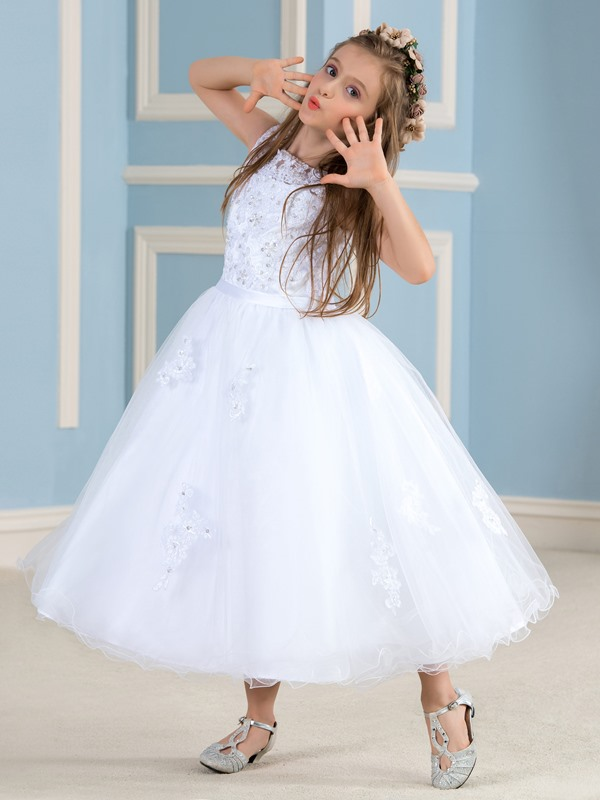 Tea Length A-Line Beaded Lace Princess White Flower Girl Dress