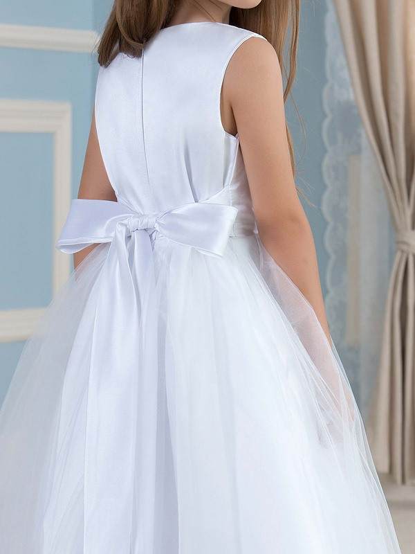 Admirable Floor Length A-Line Flower Girl Dress with Sash
