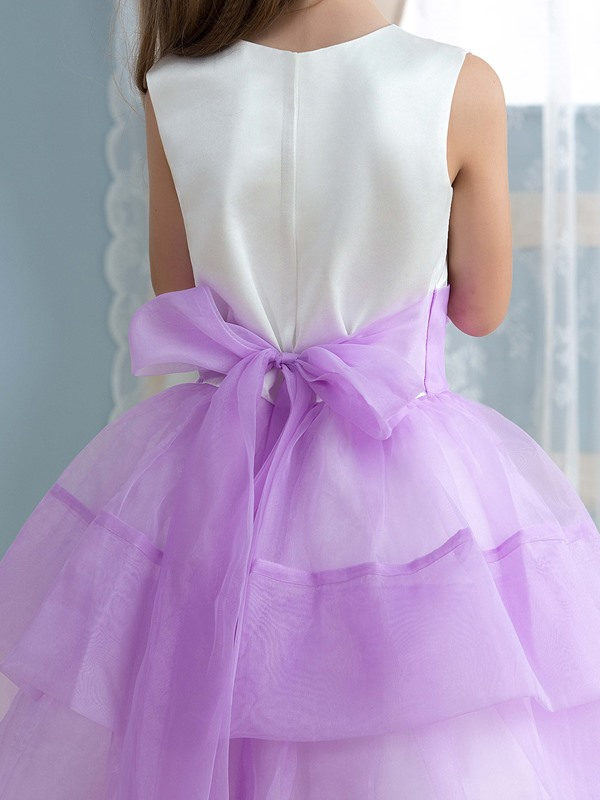 Cheap Floral Lilac Princess Flower Girl Dress
