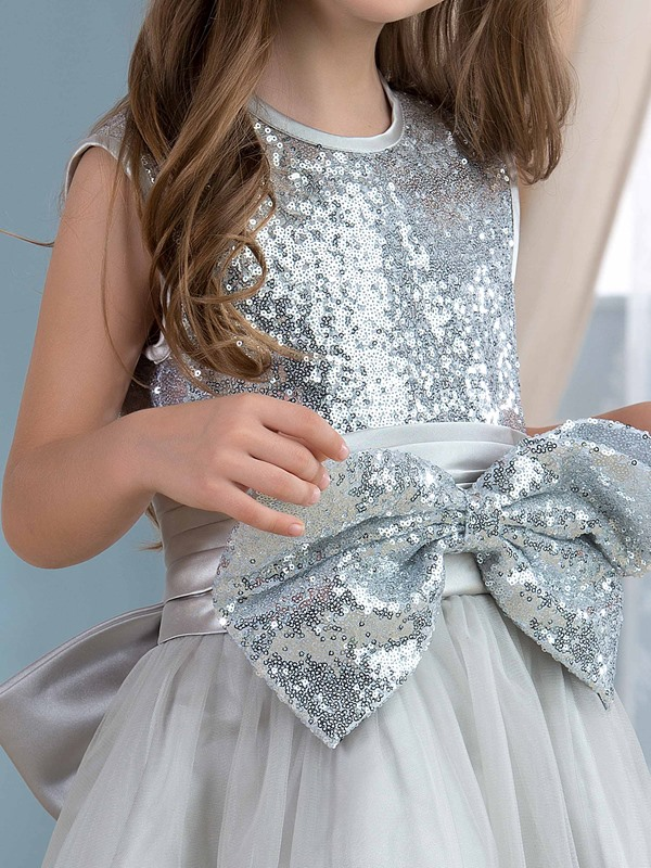 Cute Sequin Bowknot Silver Flower Girl Dress
