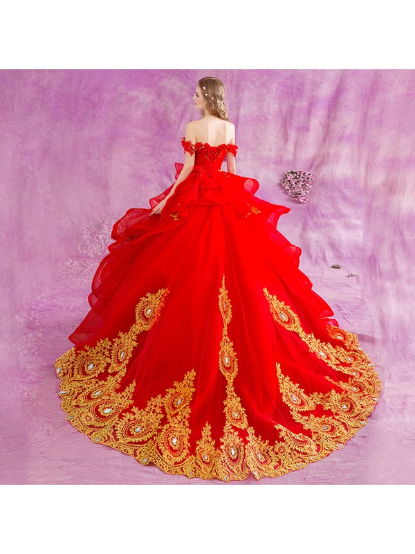 Floor Length Puffy A-Line Beaded Lace Appliques Off the Shoulder Red Wedding Dress