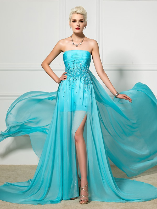 Strapless A-Line Split-Front Beaded Evening Dress