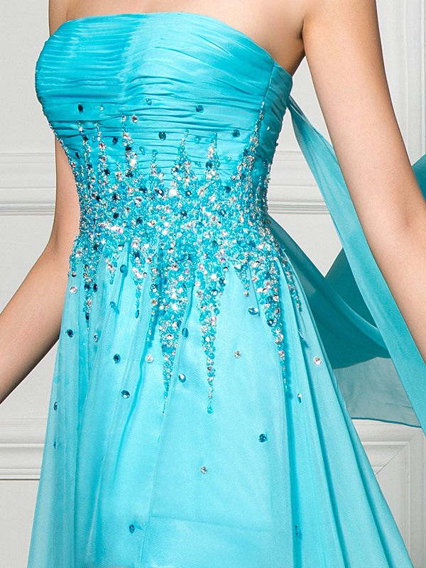 Amazing Strapless A-Line Split-Front Beaded Watteau Train Long Evening Dress