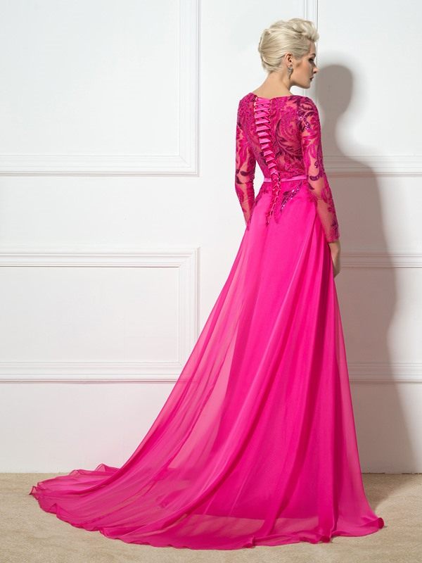 Ladylike Bateau Neck Sequined Appliques Long Sleeves Split-Front Long Evening Dress(Free Shipping)