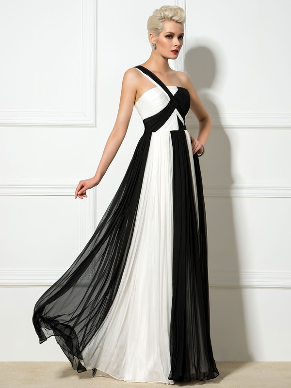 Timeless One-Shoulder Pleats A-Line Long Evening Dress
