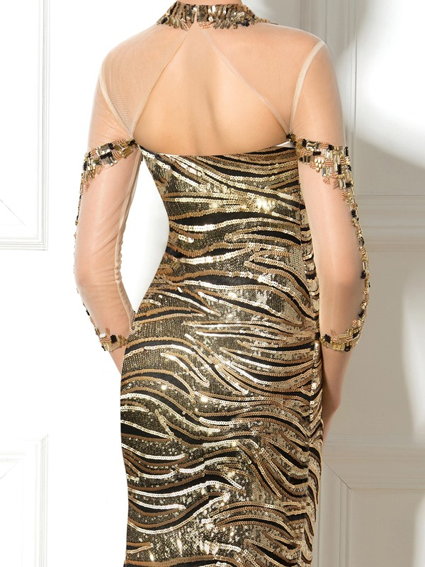 Ladylike Jewel Neckline Long Sleeves Long Trumpet Sequined Evening Dress