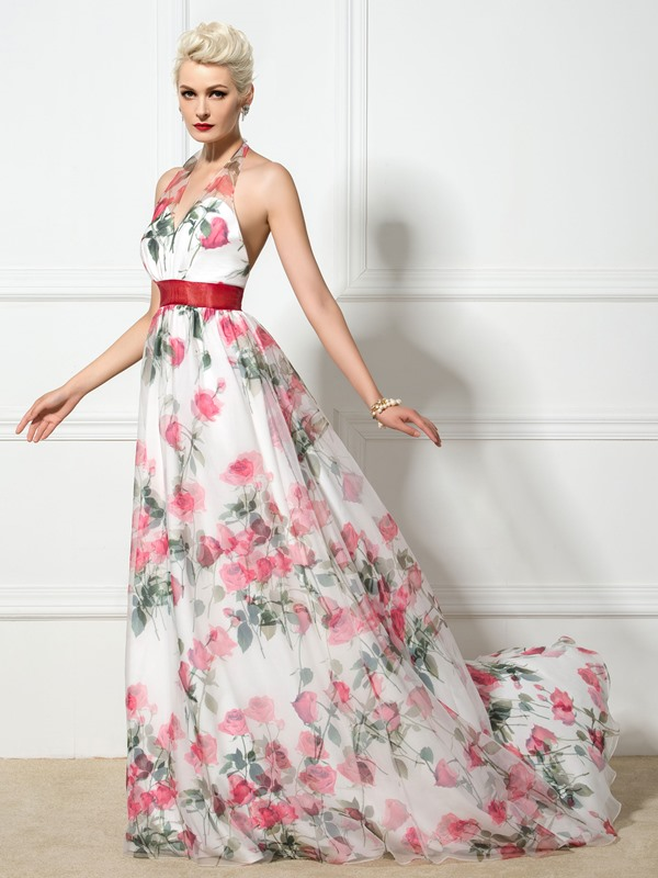Halter V-Neck A-Line Long Floral Printed Evening Dress