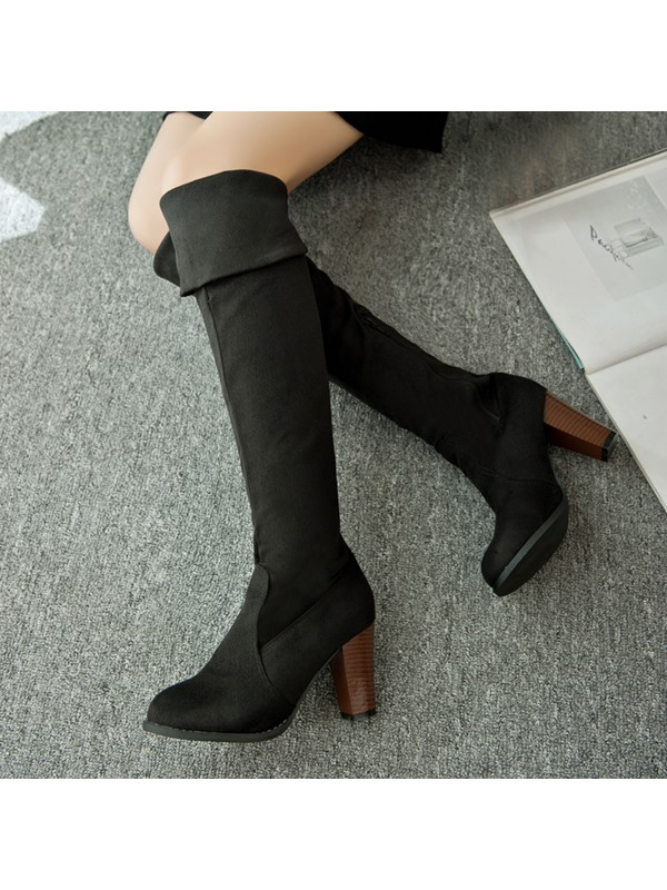 Faux Suede Chunky Heel Knee-High Boots