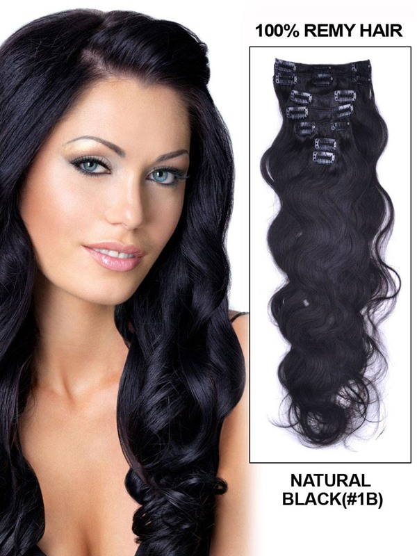 New Arrival Wavy Human Hair 7PCS Clip in Human Hair Extensions(Free Shipping)