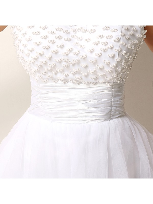 Scoop Neck Pearls Lace Short Beach Wedding Dress