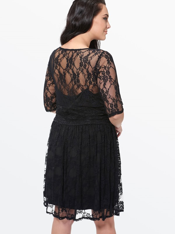 Lace Half Sleeve Contrast Plus Size Women's Dress