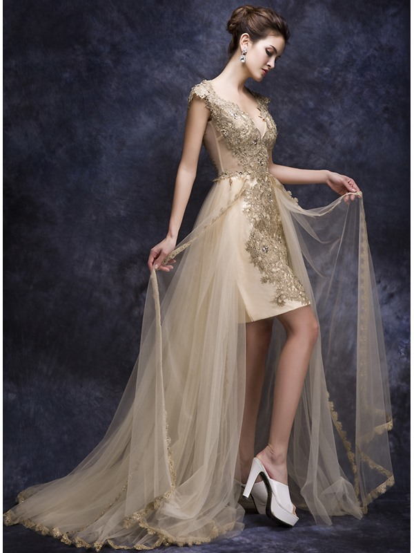 Fashionable V-Neck Appliques Beaded Court Train Asymmetrical Evening Dress