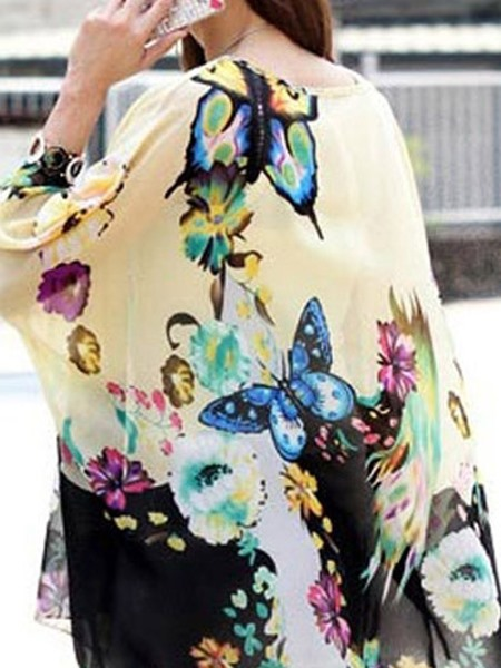 Casual Butterfly Printing Blouse