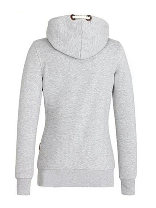 Solid Color Sloping Zippered Hoodie