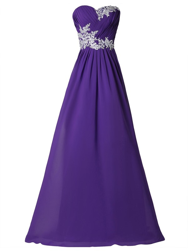 Sweetheart Pleats Appliques Evening Dress