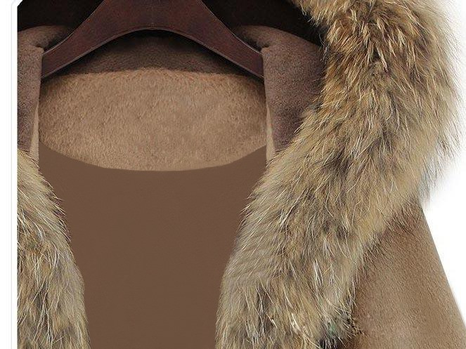 Cap Style Hooded Faux Fur Collar Trench Coat