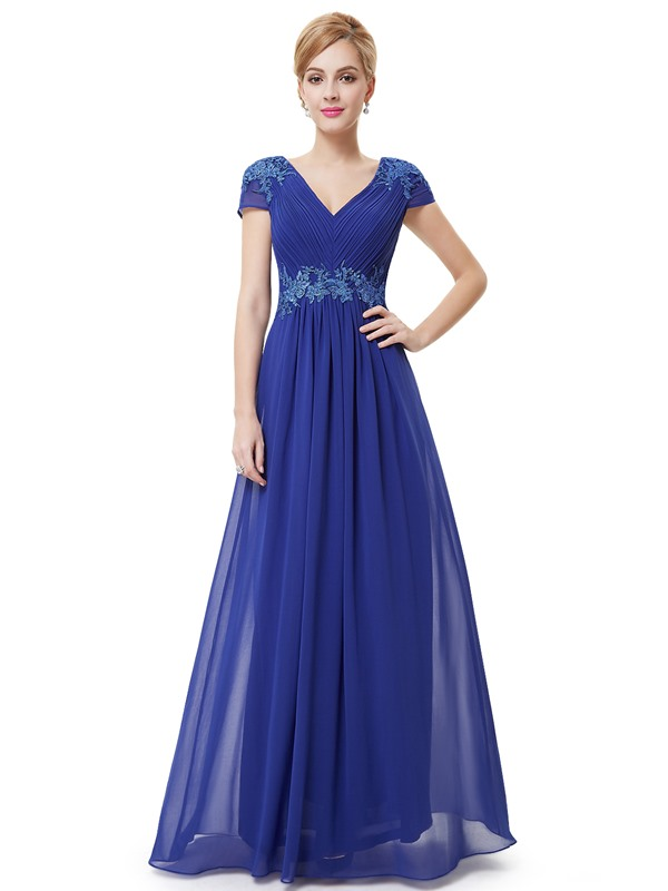 Elegant V-Neck Pleats Appliques A-Line Short Sleeves Long Evening Dress