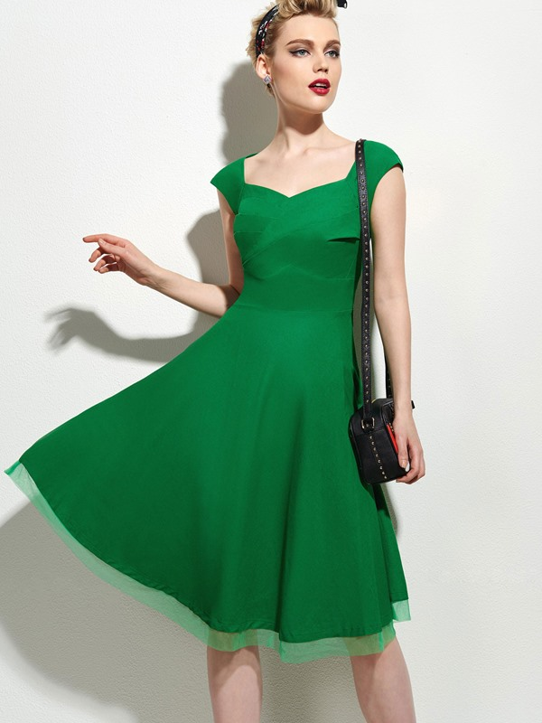Solid Frill Cap Sleeve Women's Skater Dress