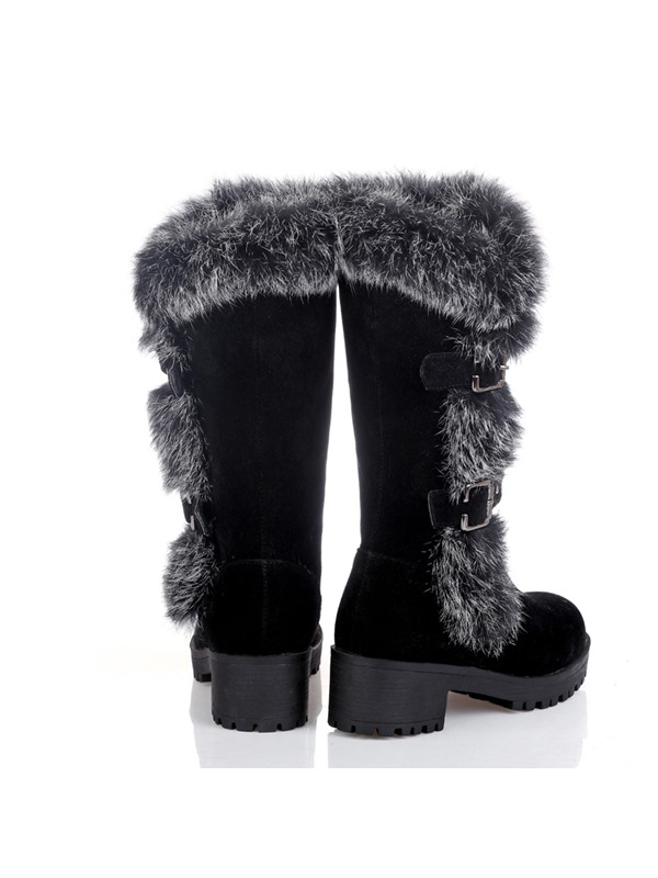 Furry Round Toe Buckles Women's Snow Boots