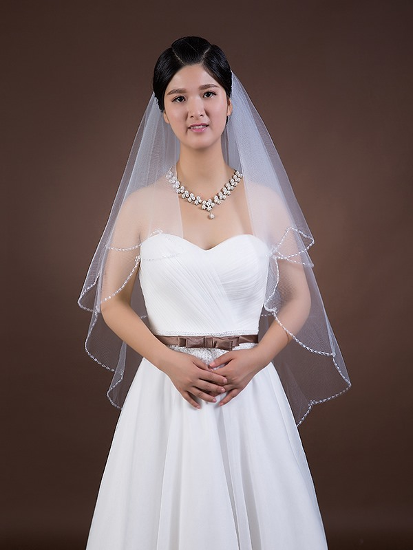 White Tulle Wedding Veil with Comb