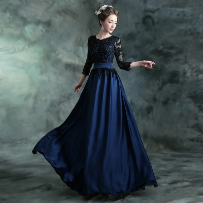 Appliques 3/4 Length Sleeves Long Mother of the Bride Dress