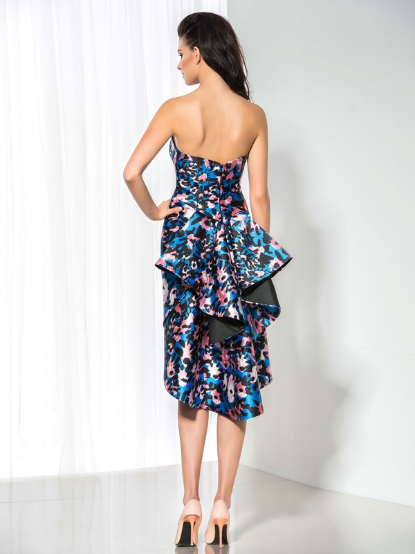 Fashion Sweetheart Column Floral Printed Ruffles Asymmetrical Cocktail Dress