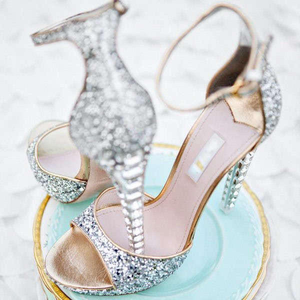 Open-toe Sequin Crystal Heel Ankle Strap Wedding Shoes