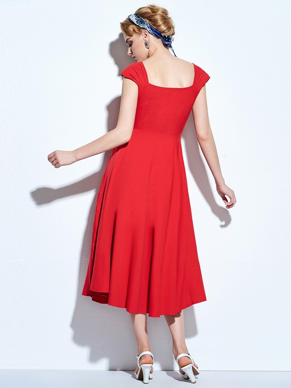 Cap-Sleeve Solid Color Women's Skater Dress