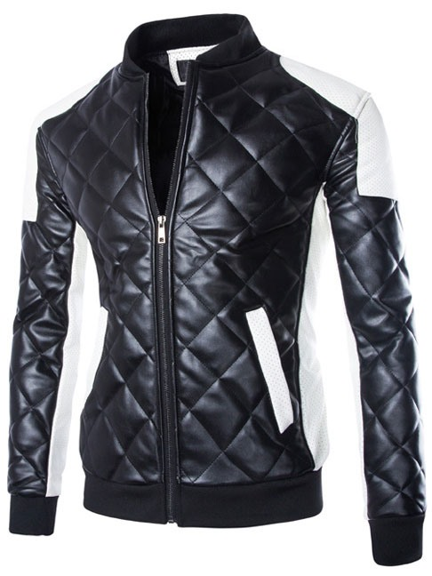 Men's Plus Size Color Block PU Quilted Motor Jackets