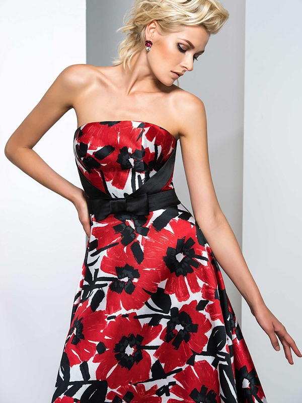 Strapless Bowknot Sweep Train Printed Evening Dress