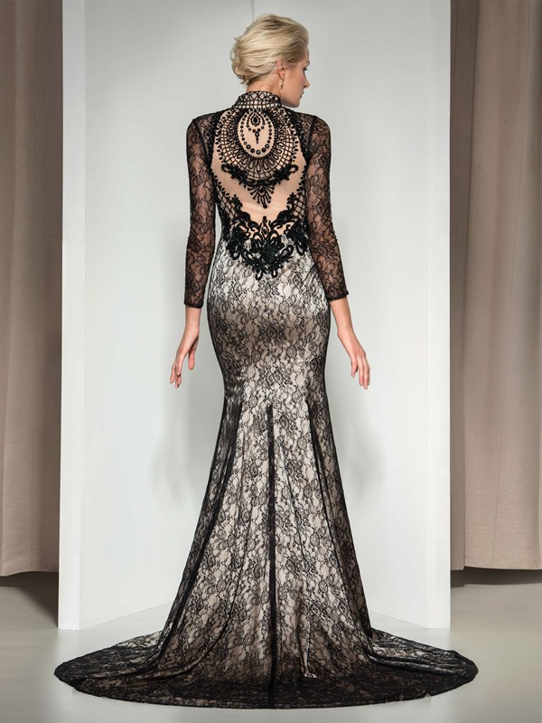 Vintage V-Neck Long Sleeves Beaded Court Train Long Mermaid Lace Evening Dress