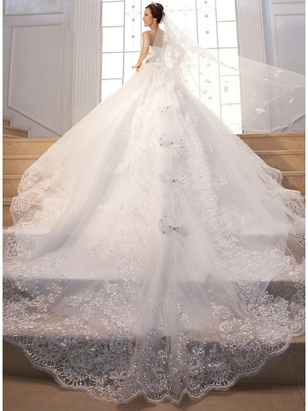 Cathedral Train Beading Sequins Lace Strapless Wedding Dress