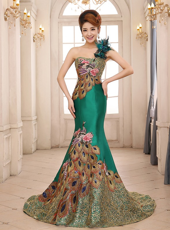 One Shoulder Flowers Embroidery Long Evening Dress