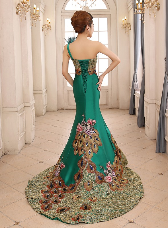 One Shoulder Flowers Embroidery Mermaid Long Evening Dress