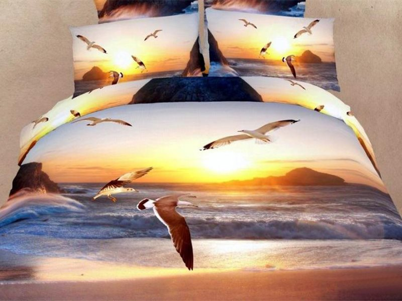 Sea-Gull and Sunset Printed 4-Piece Bedding Sets